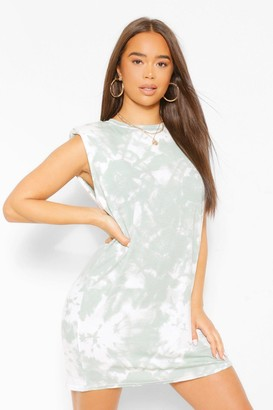 boohoo Tie Dye Shoulder Pad Dress In Sage