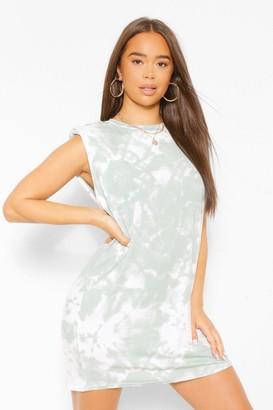 boohoo Tie Dye Shoulder Pad Dress In Sage