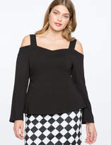 ELOQUII Cold Shoulder Sweetheart Neckline Top