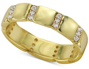 Argentovivo Cubic Zirconia Stack Ring in 18k Gold-Plated Sterling Silver