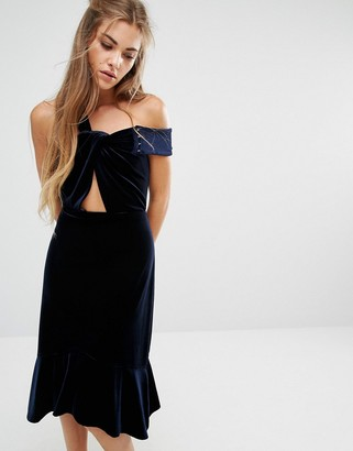 Foxiedox Margaux Off The Shoulder Frill Hem Velvet Dress