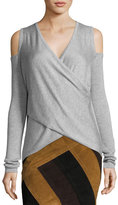 Derek Lam 10 Crosby Melange Cold-Shoulder Surplice Sweater, Gray