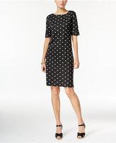 Karen Scott Petite Elbow-Sleeve Printed Dress, Only at Macy's