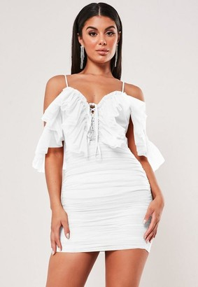 Missguided White Frill Mesh Ruched Strappy Mini Dress