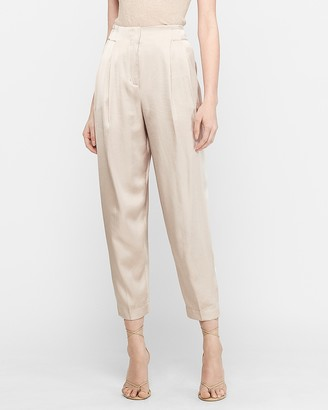 Express High Waisted Satin Pleated Ankle Jogger Pant
