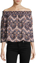 On the Road Lita Floral Chevron Printed Top, Blue Pattern