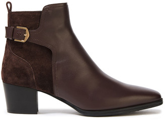 Tod's Buckled Suede And Leather Ankle Boots