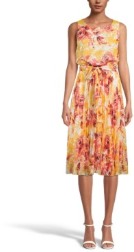 INC International Concepts Inc Floral-Print Pleated Midi Dress, Created for Macy's
