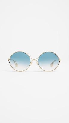 Gucci Fork Oval Frame Sunglasses