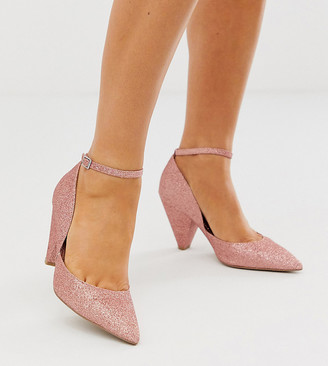 Asos Design DESIGN Wide Fit Speak Out pointed mid-heels in pink glitter