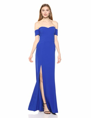 Dress the Population Women's Logan Off Shoulder Sweetheart Bodycon Long Gown Dress w Slit