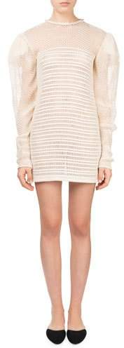 Magda Butrym Cruz Puff-Sleeve Crochet Woven Leather Mini Cocktail Dress