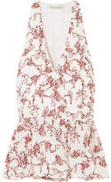 Emilia Wickstead Lucie Floral-print Crepe Peplum Wrap Top - Red