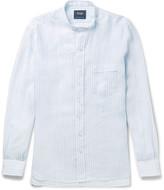 Drake's - Grandad-collar Striped Linen Shirt