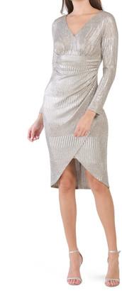 Metallic Knit Draped Dress
