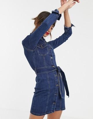Vero Moda tie waist denim shirt dress in dark blue