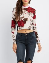 Charlotte Russe Floral O-Ring Detail Crop Top