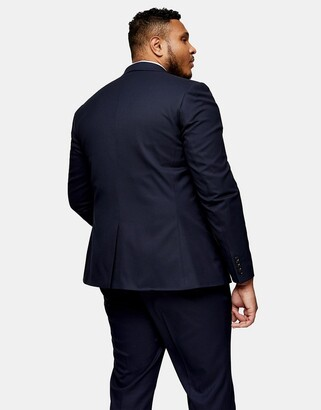 Topman Big & Tall textured skinny fit single breasted suit jacket with notch lapels in navy