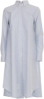 Thom Browne Pleat Back Shirtdress W/gg Placket In University Stripe Oxford