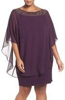 Xscape Evenings Plus Size Women's Embellished Chiffon Overlay Jersey Sheath Dress