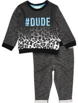 River Island Mini boys black '#Dude' top and joggers set