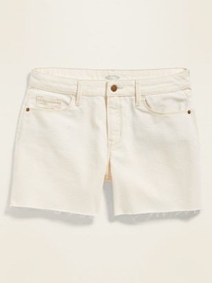 Old Navy Mid-Rise White Slim Midi Jean Cut-Offs for Women - 5-inch inseam