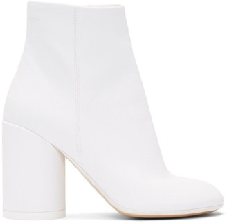MM6 MAISON MARGIELA White Coated Textile Ankle Boots