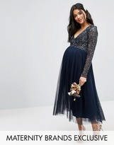 Maya Maternity Long Sleeve Midi Dress With Delicate Sequin And Tulle Skirt
