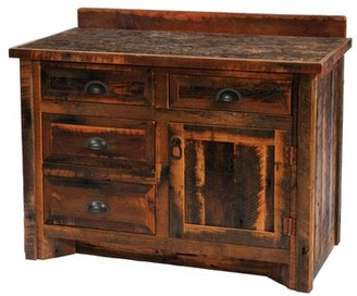 "Union Rustic Derecho 42"" Bathroom Vanity Base Only Leg Style: Hickory Legs, Orientation: Left, Top: No Top"