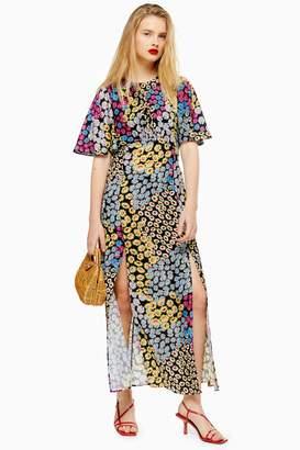 Topshop Womens Austin Multicoloured Floral Daisy Print Angel Sleeve Midi Dress - Yellow