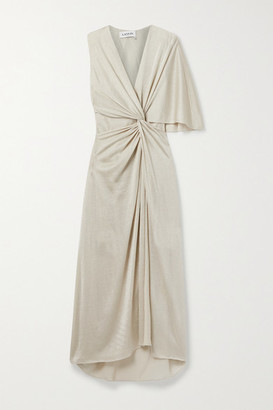 Lanvin Asymmetric Knotted Lurex Gown - Gold