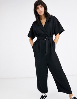 Ichi minimal belted wrap jumpsuit-Black