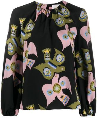 La DoubleJ Charming bird print blouse