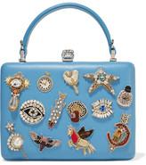 Alexander McQueen Embellished Leather Clutch - Light blue