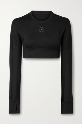 adidas by Stella McCartney Cropped Cutout Recycled Stretch Top - Black