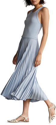 Long Tank Dress with Pleated Skirt