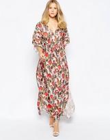Traffic People Caftan Maxi Dress In Feather Print