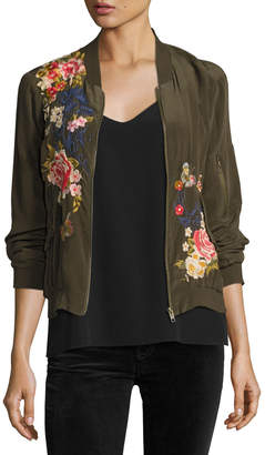 Johnny Was Plus Size Lucy Crepe de Chine Bomber Jacket