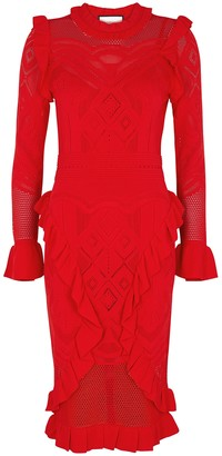 Alexis Sivan red pointelle-knit dress
