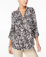 Charter Club Printed Roll-Tab Blouse, Created for Macy's
