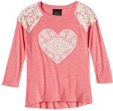 Miss Chievous Girls 7-16 3/4-Length Crochet Cold-Shoulder Top