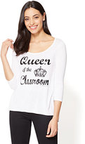 """New York & Co. """"Queen of the Classroom"""" Graphic Logo Tee"""