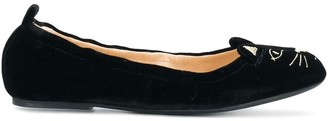 Charlotte Olympia kitten embroided ballerina shoes