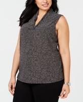 Anne Klein Plus Size Dot-Print Top