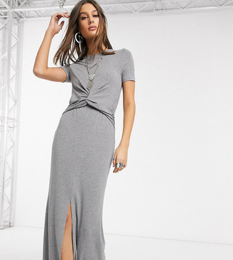Asos Tall DESIGN Tall twist front maxi dress in grey