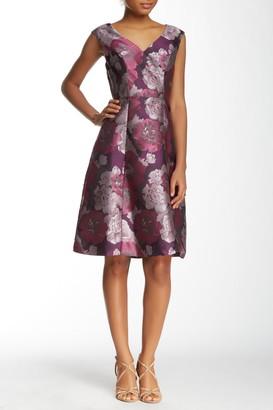 Adrianna Papell Cap Sleeve V-Neck Floral Jacquard Flare Dress