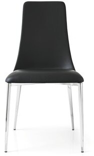 Calligaris Etoile Genuine Leather Upholstered Dining Chair Color: Chromed