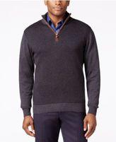 Tricots St Raphael Big and Tall Quarter-Zip Faux-Suede Trim Herringbone Sweater