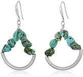 "Robert Lee Morris Let's Turquoise About It"" Semiprecious Turquoise Stone Gypsy Hoop Earrings"