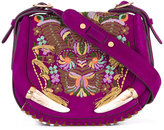 Roberto Cavalli embroidered shoulder bag - women - Cotton/Leather/Cattle Horn - One Size